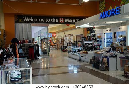NAPERVILLE, ILLINOIS / UNITED STATES - NOVEMBER 3, 2015: One may purchase Amore Pacific, Iope, and Laneige cosmetics and skin care products in Naperville's H Plaza, adjacent to the H Mart Supermarket.