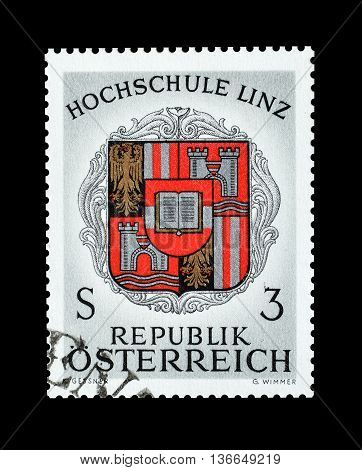 AUSTRIA - CIRCA 1966 : Cancelled postage stamp printed by Austria, that shows  Coat of arms of Linz College.