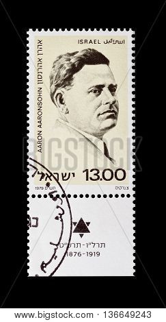ISRAEL - CIRCA 1979 : Cancelled postage stamp printed by Israel, that shows Aaron Aaronsohn.
