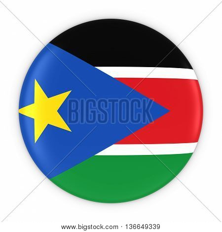 South Sudanese Flag Button - Flag Of South Sudan Badge 3D Illustration