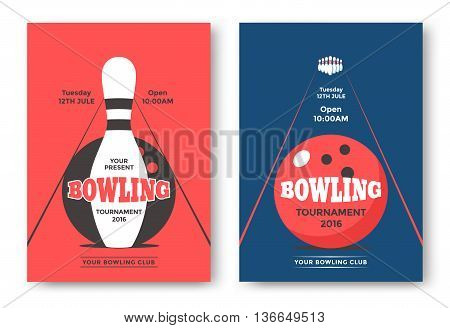 Bowling tournament poster vector template. Flyer with illustration bowling ball and pins.