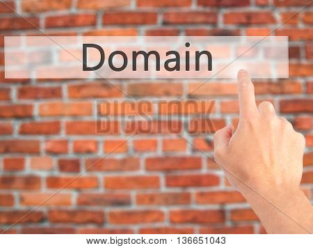 Domain - Hand Pressing A Button On Blurred Background Concept On Visual Screen.