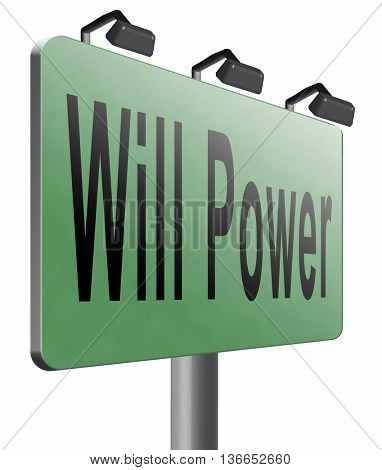Will power of the mind or self dicipline or determination control thoughts, 3D illustration, isolated on white