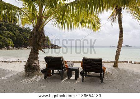 Deckchairs At Tropical Landscape View, Seychelles