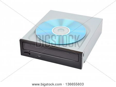 CD-rom drive and compact disk isolated on white background
