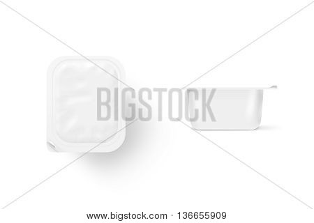 Blank white meal box mock up stand isolated 3d illustration. Sause clear jar mockup 2 sides. Ketchup empty box design presentation. Yoghurt packaging. Mayonnaise bank template.