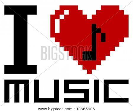 I Love pixel music - vector