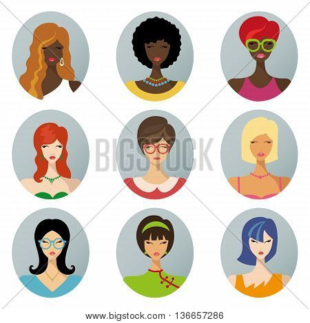 Vector flat avatars.Beautiful girls, woman, female.Various hair style icons, different races set.African american , European and Asian woman app icons in trendy flat style.Fashion vector, image, look