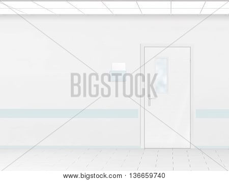 Hospital corridor with blank wall mockup and door 3d render. Room sign mock up template on entry in ward. Medical hall interior sickroom. Clear closed door signage plate. Infirmary light hallway