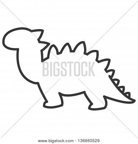 simple flat design cute dinosaur icon vector illustration