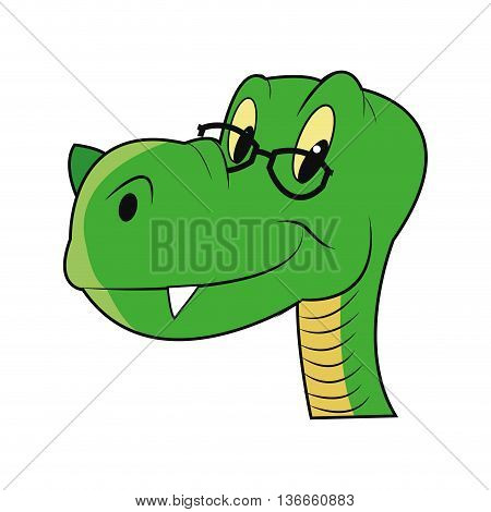 simple flat design cute dinosaur with glasses icon vector illustration
