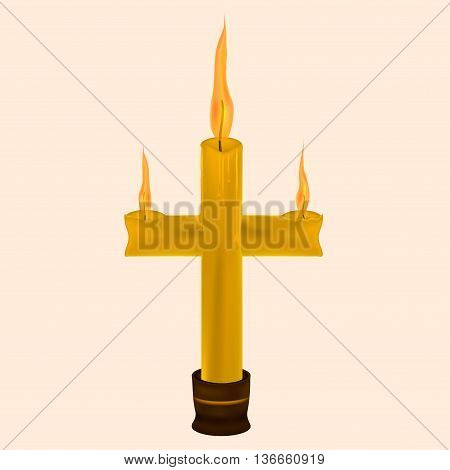 wax candle in the shape of a cross in a candlestick.