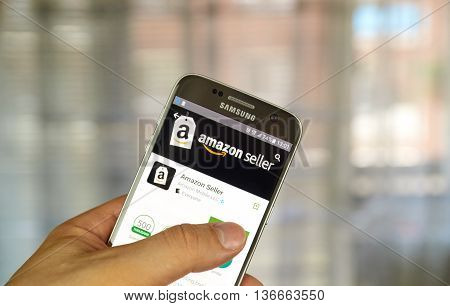 MONTREAL CANADA - JUNE 24 2016 : Amazon Seller application on Samsung S7 screen. Amazon Seller App helps to grow and manage selling business on Amazon.