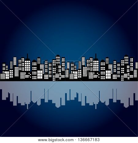 Style Cartoon Night City Skyline Background. Vector Eps 10