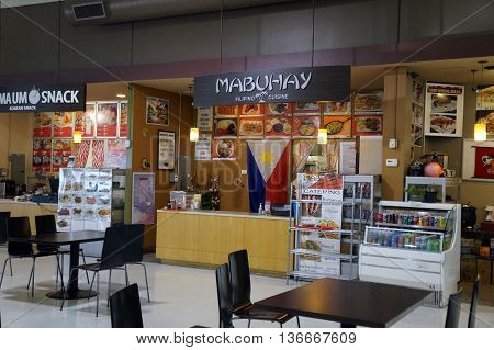 NAPERVILLE, ILLINOIS / UNITED STATES - NOVEMBER 3, 2015: The Mabuhay concession offers Filipino cuisine in the H Plaza food court in Naperville.