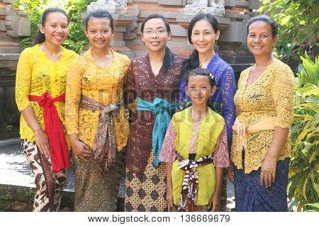 Bali, Indonesia Feb, 20, 2016: Balinese women in their traditional dress during Galungan/Kuningan festival.