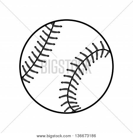 Baseball ball sign. Black softball icon isolated on white background. Equipment for professional american sport. Symbol play team game and competition recreation. Simple design. Vector illustration