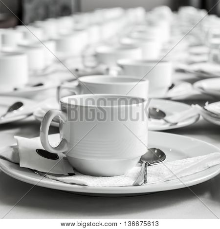Monotone Color Set Of Coffee Break At Meeting