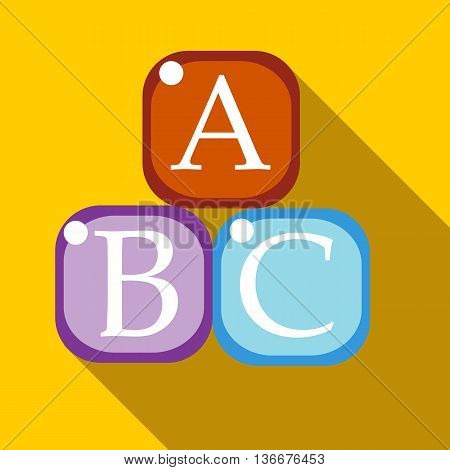 Cubes with letters A, B, C icon in flat style on a yellow background