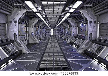 Spaceship Sci-Fi corridor interior design 3d illustration