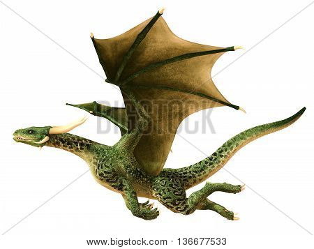 Flying dragon isolated on white background 3d illustration