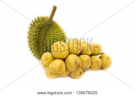 Durian King of fruits and Wollongong delicious fruit or Longkong fruit or Lansium parasiticum in plate