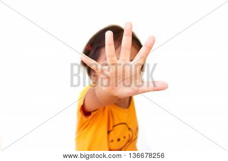Child Showing Hand Signaling To Stop