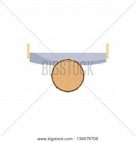 Saw cuts log icon in cartoon style isolated on white background. Felling symbol