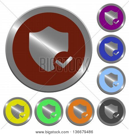 Set of color glossy coin-like protection ok buttons.