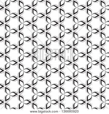 Funky Geometric Stars Celtic Tribal Leaf Leaves Floral Flower Trendy Black Line Design Repeating Seamless Vector Pattern Background Design