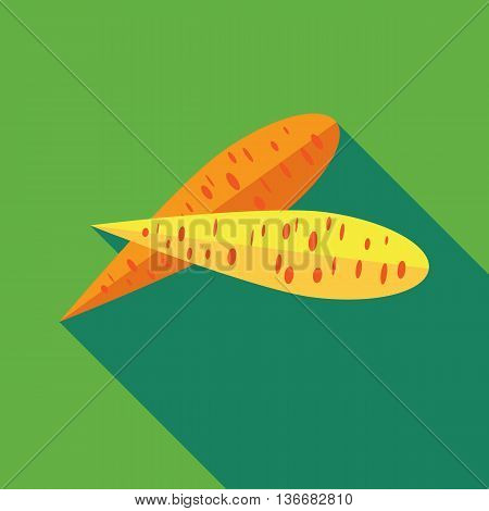Two carrots icon in flat style on a green background