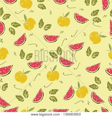 ute seamless pattern of hand drawn sketchy fresh fruits.