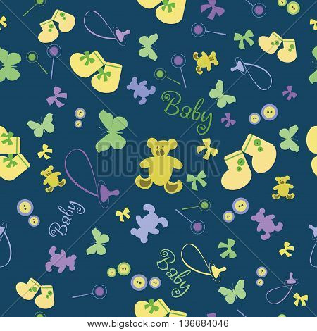 Baby pattern with bootees and bear. Colorful baby seamless pattern for wallpaper, scrapbook, fabric,