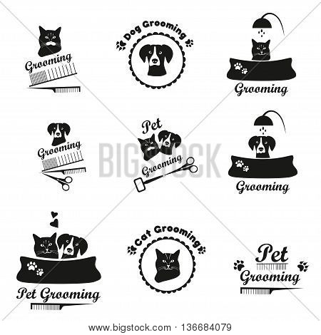 Pet grooming logo black emblem collection. Dog , cat grooming icons.