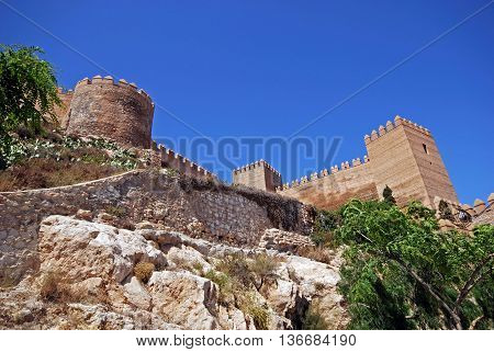 View looking up at the Moorish Castle Almeria Almeria Province Andalusia Spain Western Europe.