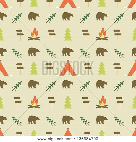 Camping elements pattern. Camping seamless wallpaper design. Equipment for camping background for print. Adventure or camping gear pattern- tent, sign post, tree, bonfire. Nature pattern design. Vector.