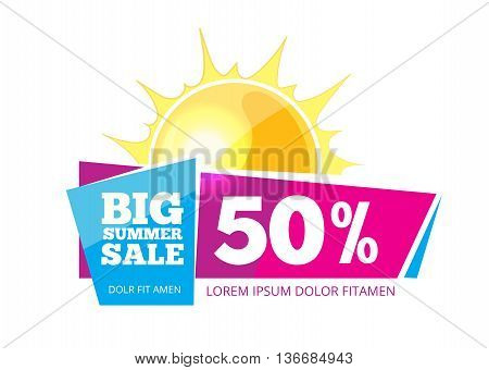 vector label for advertizing. Emblem for big summer sales. Picture isolate on white background