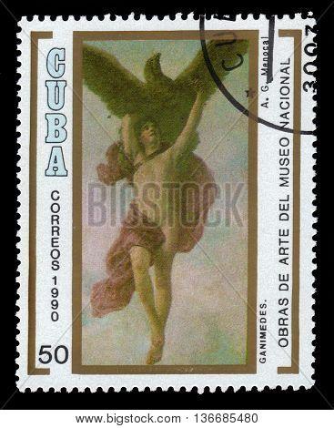 CUBA - CIRCA 1990: a stamp printed in Cuba shows The Abduction of Ganymede by Armando Menocal, National Museum, Havana, circa 1990
