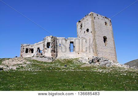 Star castle (Castillo de la Estrella) on top of the hill Teba Malaga Province Andalucia Spain Western Europe.