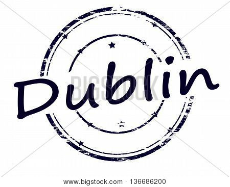 Rubber stamp with word Dublin inside vector illustration