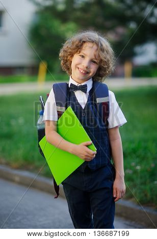 Elegant curly-haired first-grader in the school yard. The student looks at the camera with a sweet smile. In hand the boy has a bright green folder. Behind him a school backpack. Back to school.