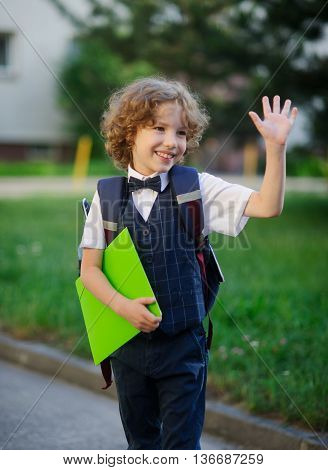 Elegant curly-haired elementary school student. The little schoolboy looks at the camera with a sweet smile. In hand the boy has a bright green folder. Behind him a school bag. Back to school.