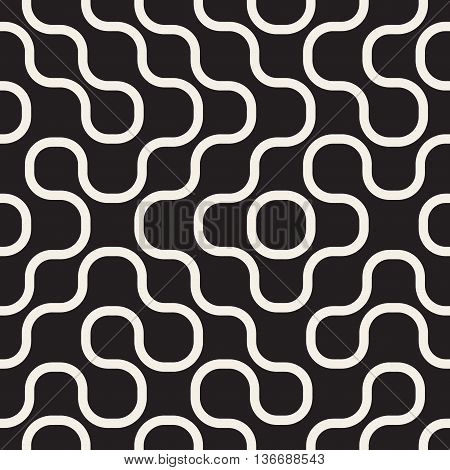 Vector Seamless Black And White Irregular Wavy Lines Geometric Pattern