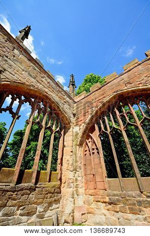Arched window frames within the ruins of the old Cathedral Coventry West Midlands England UK Western Europe.