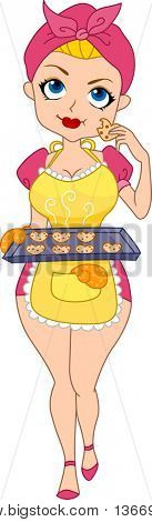 Illustration of a Pinup Girl Tasting the Heart Cookies She Baked