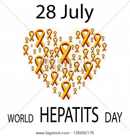 World Hepatitis Day 28 July yellow red ribbon. Vector illustration world day against hepatitis.