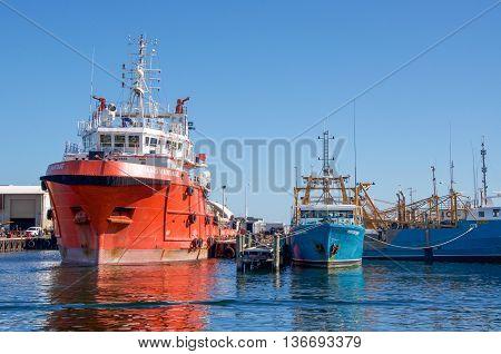 FREMANTLE,WA,AUSTRALIA-JUNE 1,2016: Fremantle Fishing Boat Harbour with large commercial vessels in Fremantle, Western Australia.