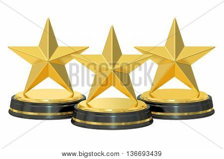 Golden stars awards 3D rendering isolated on white background