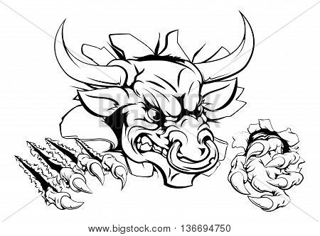 Bull Monster Smashing Through Wall