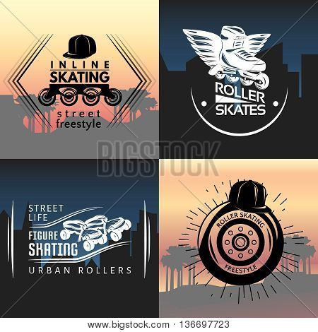 Roller skating concept with wheel frame boot cap on background of park landscape and city vector illustration